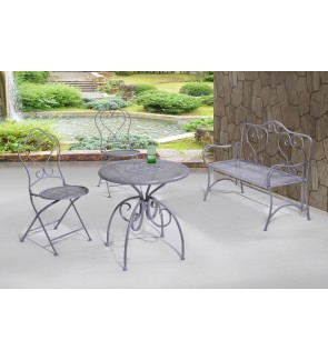 Reto Outdoor Table with Two Outdoor Chairs and Outdoor Bench Chair