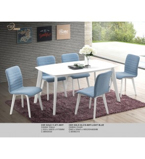 Zakof White Dining Table L150cm x W90cm x H75cm