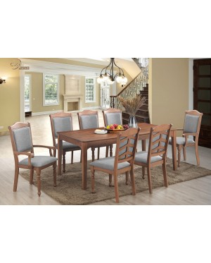 Dinzuoz Dining Set 1+8 Solid Rubber Wood