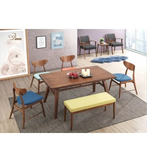 Hindos 1+6 Solid Rubber Wood Dining Set