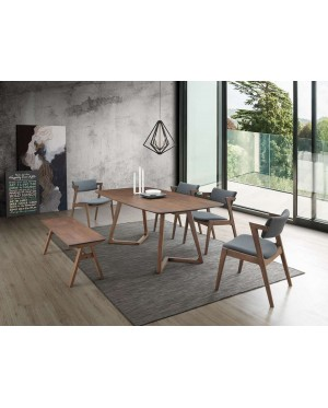 Ansdos 1+6 Solid Rubber Wood Dining Set