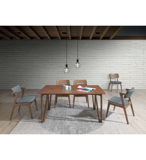 Kingos 1+6 Solid Rubber Wood Dining Set