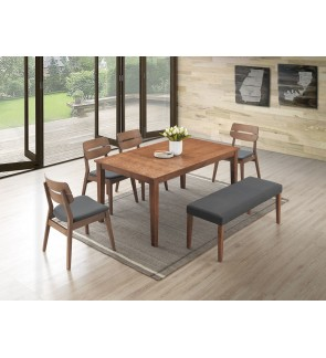 Dimaze 1+6 Solid Rubber Wood Dining Set
