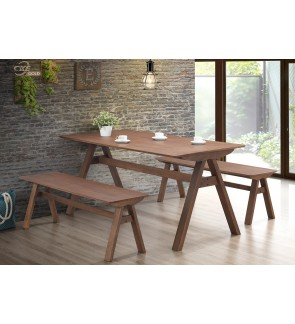Mindone 1+4 Solid Rubber Wood Dining Set