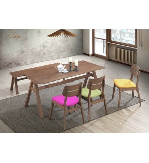 Qitiq  1+6 Solid Rubber Wood Dining Set