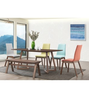 Baosume 1+6 Solid Rubber Wood Dining Set