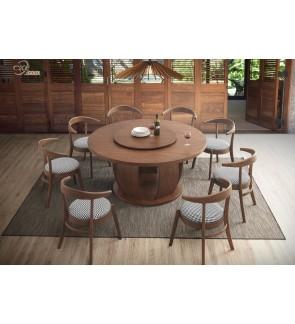 Hintinn 1+8 Solid Rubber Wood Dining Set