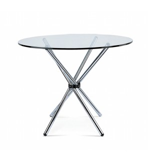 Kontos Tempered Glass Round Dining Table