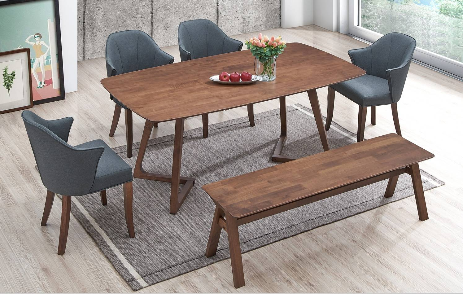 E Home Furniture Solid Rubber Wood Stylish Dining Table Rectangle Dining Table